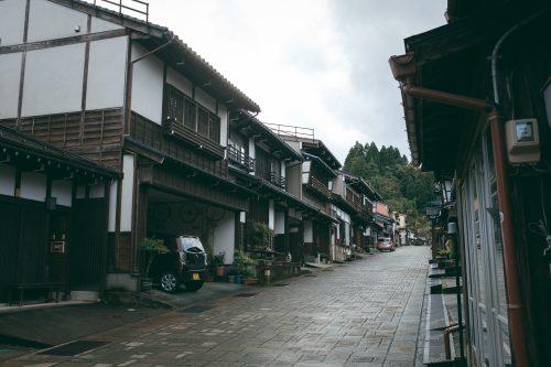 Cobbled streets of Yatsuo Village, Toyama.