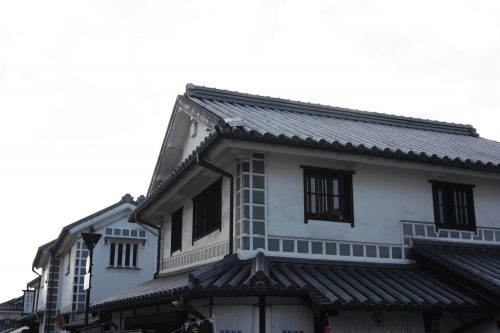 White walled houses in Bikan historic distict of Kurashiki, Okayama.