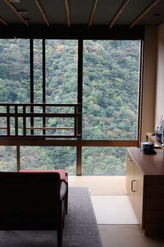 Room with a view at Iya Onsen Hotel, Tokushima Prefecture.
