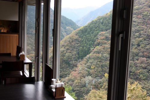 View from the restaurant at Iya Onsen Hotel, Tokushima.