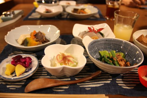 A local meal served in Ochiai village, Tokushima.
