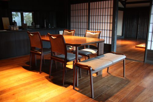 Modern conveniences and traditional architecture in rental homes in Tokushima, Shikoku.