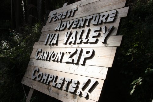 Reaching the finish line of Forest Adventure Zip Line Tour over the Iya Valley, Tokushima.
