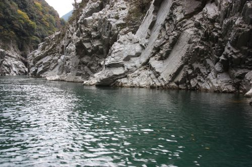 White cliffs of Oboke Gorge along the Yoshino River, Tokushima Prefecture.