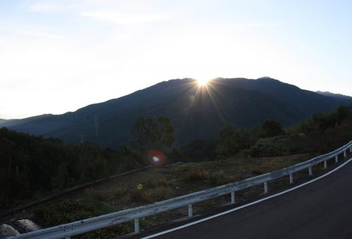 Sunrise over Tokushima Prefecture near Mima town.