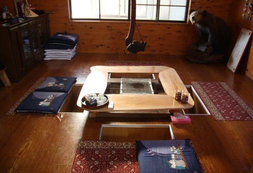 A traditional style dining area at Yuzu No Sato minshuku in Mima town, Tokushima, Shikoku.