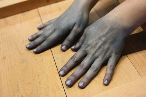Stained hands from indigo dyeing in Mima town, Tokushima.