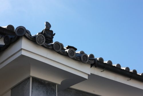 Decorated fireproof roofs of Udatsu in Mima town, Tokushima.