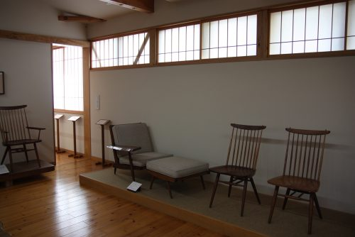 Furniture display at George Nakashima Memorial Hall.
