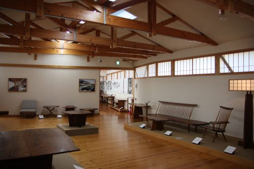 Modern wooden furniture at George Nakashima Memorial Hall.