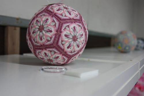 Unique embroidery of Takamatsu, Kagawa Prefecture shown on temari.