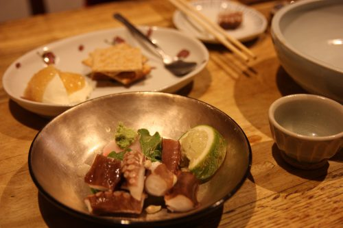 Unique dishes served at izakaya Renge Ryouriten restaurant in Takamatsu.
