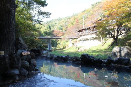 Autumn colors at Osawa Onsen in Hanamaki, Iwate Prefecture, Japan.