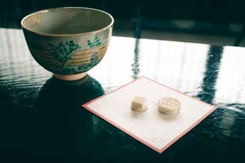 Tea tasting in the former home of Sen no Rikyu, master of the tea ceremony, Sakai, Osaka, Kinki region, Japan