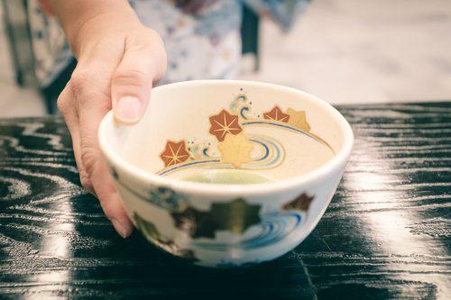 Bowl of matcha green tea at the museum dedicated to Sen no Rikyu, master of the tea ceremony, Sakai, Osaka, Kinki region, Japan