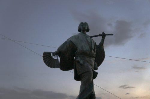 Statue of Izumo no Okuni near Izumo Great Shrine, San'in Region, Shimane Prefecture, Japan