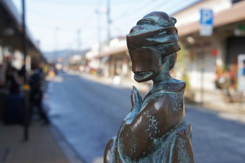 Statue of Ohaguro Bettari along the Mizuki Shigeru Road in Sakaiminato, San'in Region, Tottori, Japan