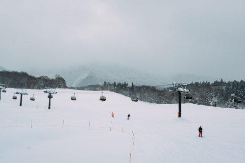 Crowd Free Skiing at Tazawako Ski Resort, Akita, Tohoku, Japan.