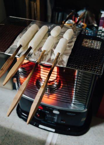 Making homemade kiritanpo at Lodge Yodel ,Akita, Tohoku, Japan.