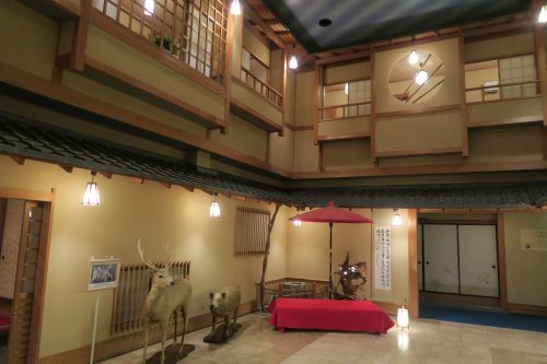 Expansive lobby at Ryokan Masagokan in Kakegawa, Shizuoka.