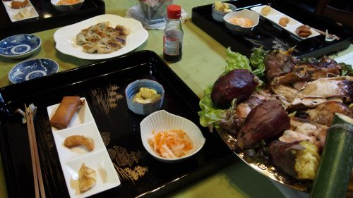 A huge homemade dinner at my farm stay experience in Izumi, Kyushu.