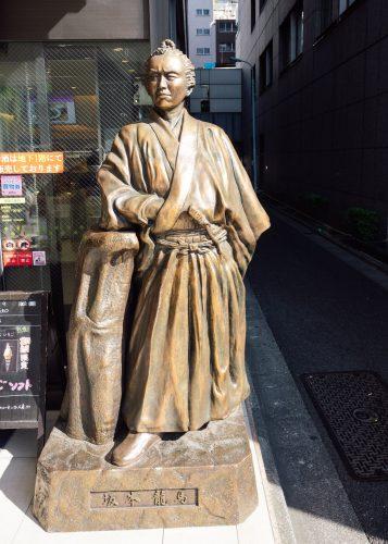 Statue of Sakamoto Ryoma at Kochi antenna shop
