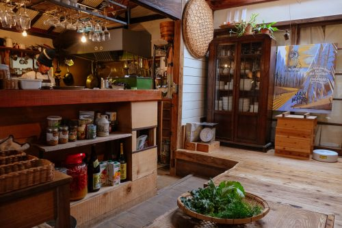 The eclectic interior of Satta Yard in Nakatsu, Oita.