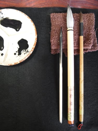 Paintbrushes and ink for Sumi-e