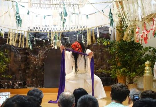 Scenes from the Kagura performed at the Takachiho Shrine in Miyazaki.