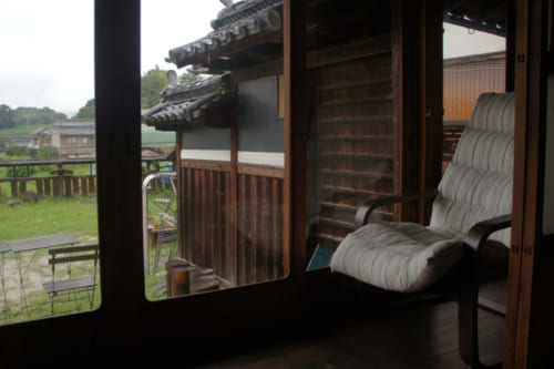 Views from the inside of Tomaryanse, a guest room in a traditional Japanese house in Asuka