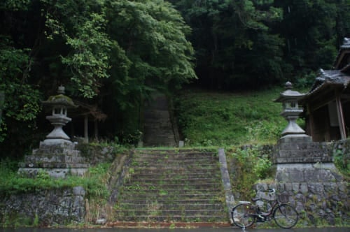 The steps of the sanctuary that is seen in Naomi Kawase's film, which sink into the forest at Asuka