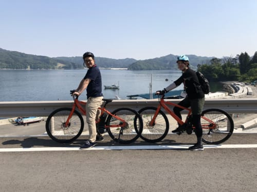 Cycling in Kamaishi City.