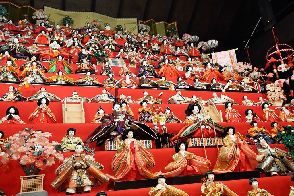 Traditional dolls display for Girl's day on red stairs