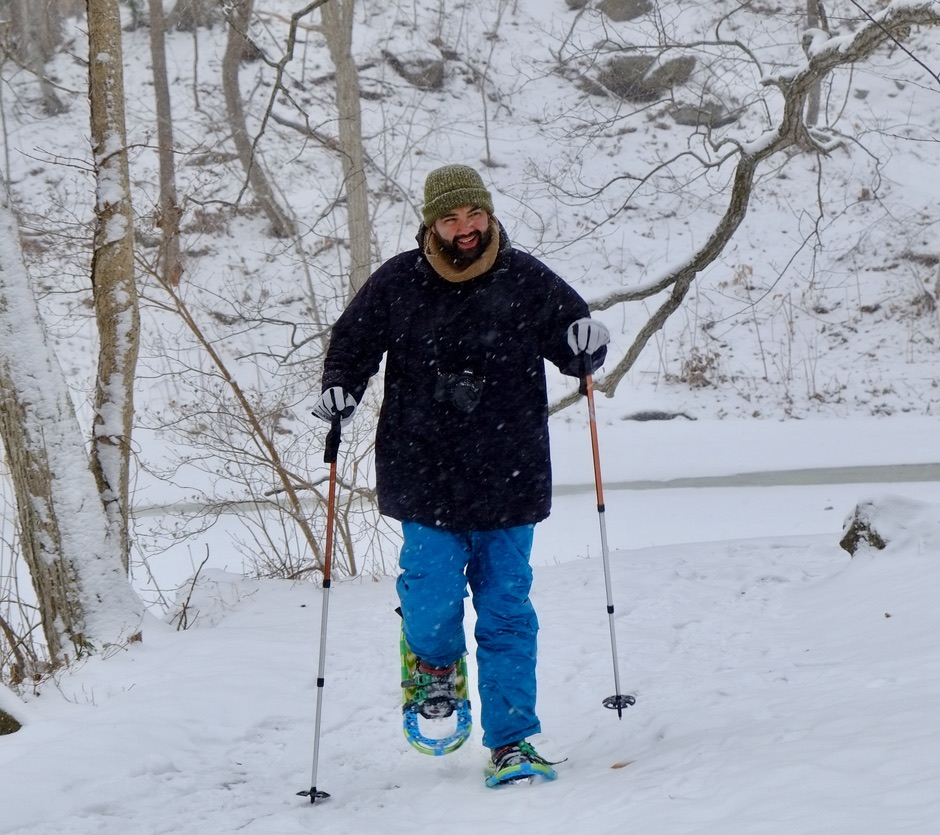 Jonathan walking on snowshoes