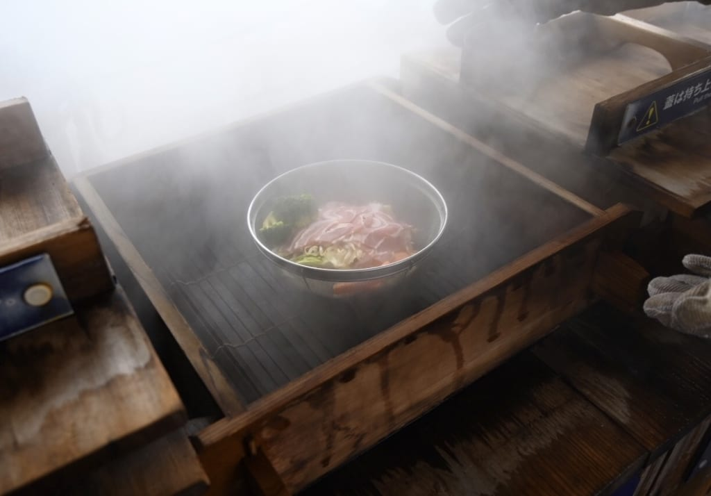 Lunch being cooked by natural steam