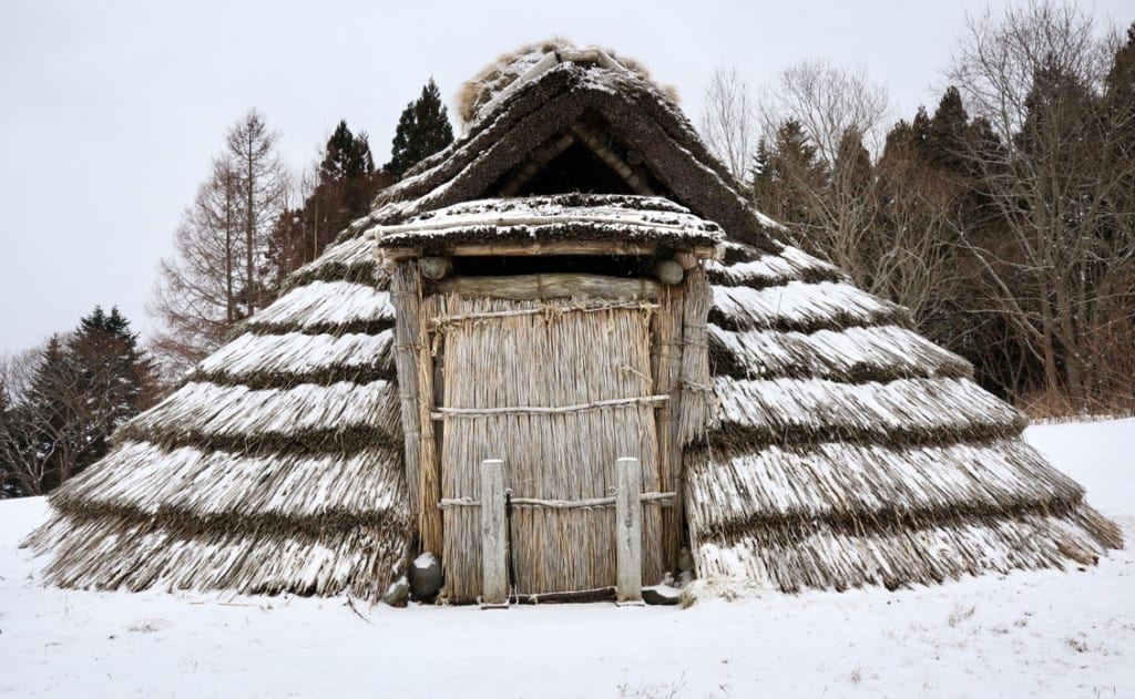 House at Ofune Jomon Settlement covered in snow