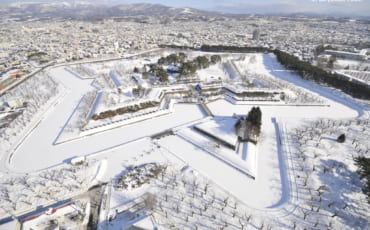 Goryokaku Fort during winter snow