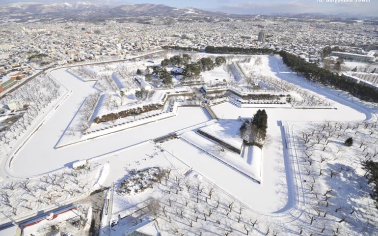 Goryokaku Fort during winter snow