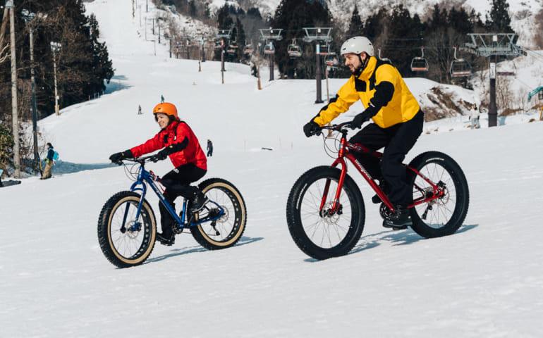 Snow cycling at Togari Onsen Ski Resort