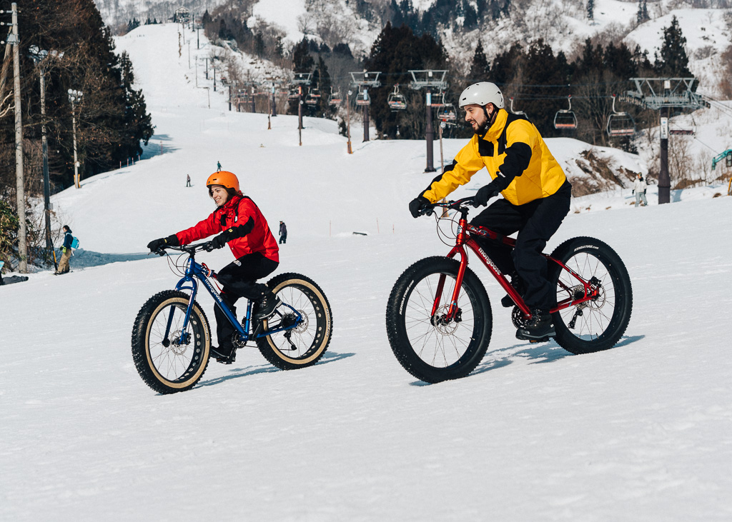 Snow cycling at Togari Onsen Ski Resort